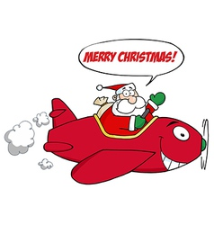 Santa saying merry christmas and flying a plane vector