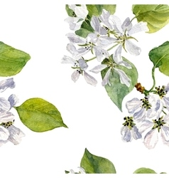 seamless pattern with watercolor apple tree vector image vector image