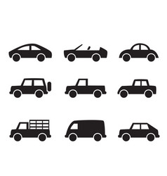 set of car icons in simple style vector image vector image