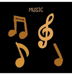 Set of Hand-drawn brown music notes on vector image