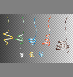 Set of realistic colorful serpentein ribbons vector
