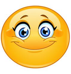 smiling female emoticon vector image
