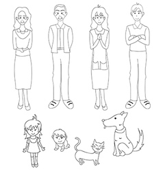 Three generation familys with cat dog vector