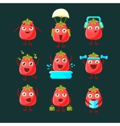 Tomato cartoon character collection vector