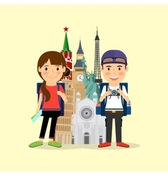 Traveling couple cartoon character vector image