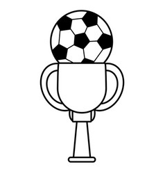 Trophy soccer ball winner outline vector