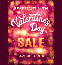 Valentines day sale poster template with hearts vector