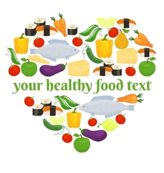 Various foods in heart shape arrangement vector image vector image