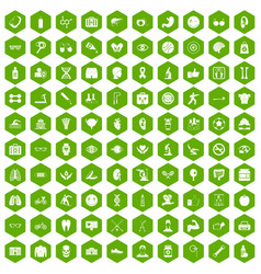 100 health icons hexagon green vector