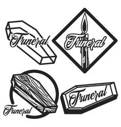Vintage funeral emblems vector