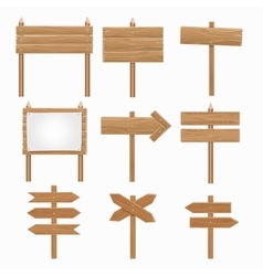 Wooden signboards wood arrow sign set vector