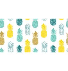 Fresh blue yellow pineapples repeat vector