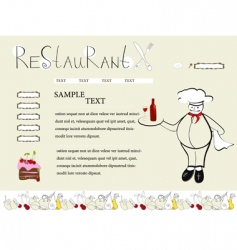 website template with chef vector image