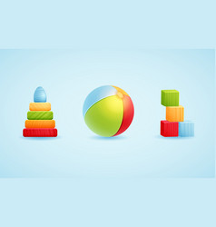 Baby toy icon set - vector