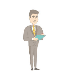 Young caucasian businessman writing on clipboard vector