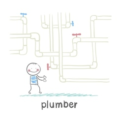 Plumber standing near pipes vector