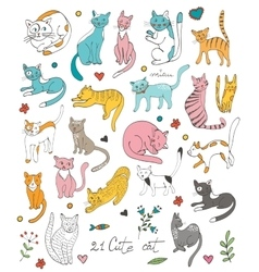 21 cute hand drawn cat colorful set with twigs vector