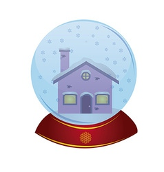 An isolated christmas toy with a house inside of i vector