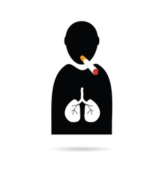 People icon with cigarette and lungs vector