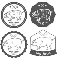 Set of logos pig farm in vintage style vector