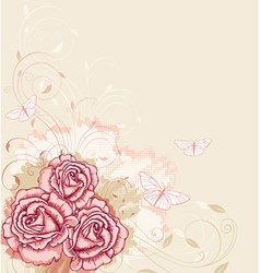 Decorative background with pink roses vector