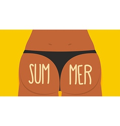 Girl tan ass in panties summer bikini s vector