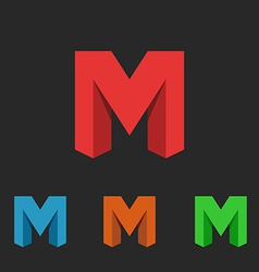 Logo letter m a set of neon icons symbol site vector