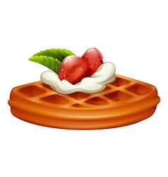 Waffle with strawberry and cream vector