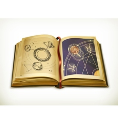 Old book astrology icon vector