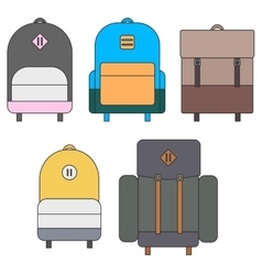 Flat backpack templates vector