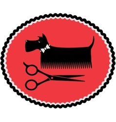 Sign with grooming dog and scissors vector