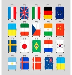 Suitcase icons set 20 suitcases with flags vector