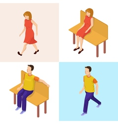 Isometric people walking woman and man vector