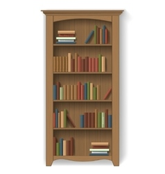 Wooden bookcase isolated with books vector