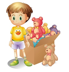 A boy beside a box of toys vector image
