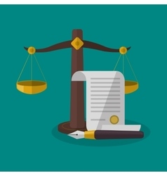 Balance and document of law and justice design vector