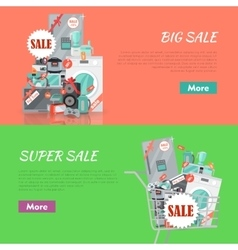 Big Super Sale Banners Set Household Appliances vector image vector image