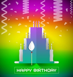 Birthday Cake with Confetti on Colorful Grad vector image