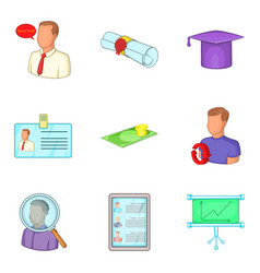 business seminar icons set cartoon style vector image vector image