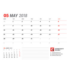 Calendar template for may 2017 business planner vector