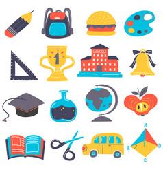cartoon back to school icon set vector image vector image