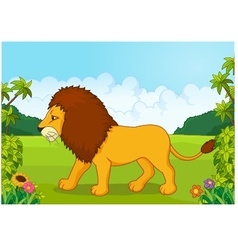 Cartoon lion from the side vector