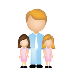 color silhouette with father and daughters vector image vector image