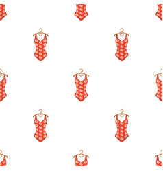 Crashing red swimsuit with a print of roses beach vector
