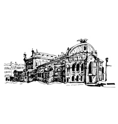 drawing of Ukraine Kyiv national opera and ballet vector image vector image
