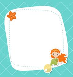 Greeting card withcute girl mermaid greeting card vector