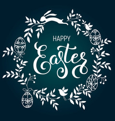 happy easter handwritten calligraphic vector image