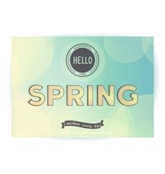 Hello spring retro poster vector