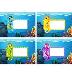 Label design with underwater theme vector image