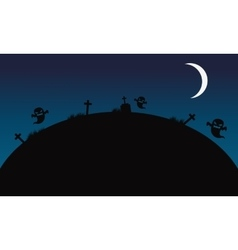 Landscape Halloween ghost and tomb vector image